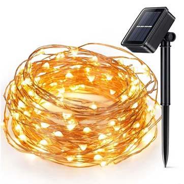 saulės energija varinės vielos styginių šviesa